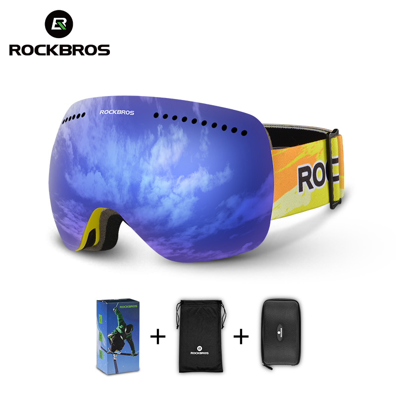 fce86dfc315 ROCKBROS Ski Goggles Glasses Double Layers Windproof Skiing Anti-fog UV400 Snowboarding  Spectacles For Men Women Big Mask Snow