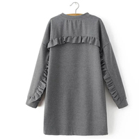Straight Autumn Dress Woman Round Neck Gray Long Sleeve Fungus Lacing Solid Color Casual Dress DNJD6243