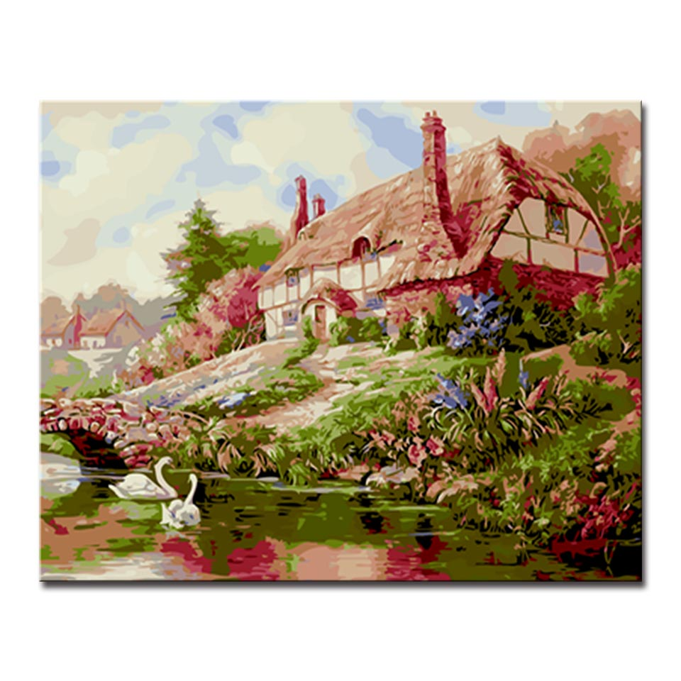 Framework DIY Digital Oil Painting By Numbers Kits Coloring Summer House On The River Ba ...