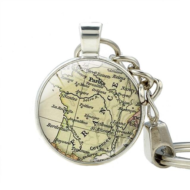 Map Of France With Key.France Vintage Map Key Holder Handmade France Map Pendant Keyrings