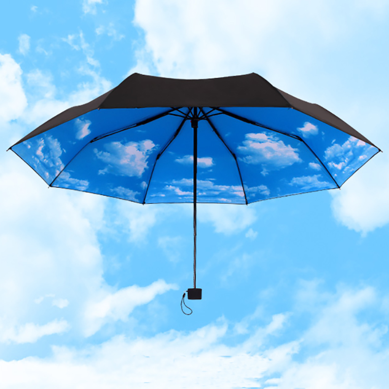 YADA Blue Sky White Clouds DIY Umbrella Rain Women uv High Quality Umbrella Car For Womens Windproof Folding Umbrellas YS008 in Umbrellas from Home Garden