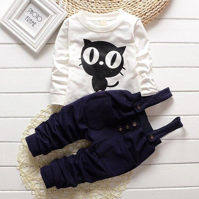 Baby Boy Clothes 2017 Spring Autumn OWL Print Long T-Shirt T-shirt Tops + Overalls Pants 2PCS Outfits Kids Bebes Jogging Suit 1