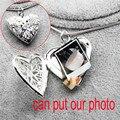 Может поставить фото рамка окна дизайн открыть закрыть любовь сердце ожерелье серебро platedsnake цепи очарование медальоны 185