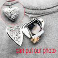 can put photo frame window design open close love heart pendant necklace silver platedsnake chain charm lockets 185