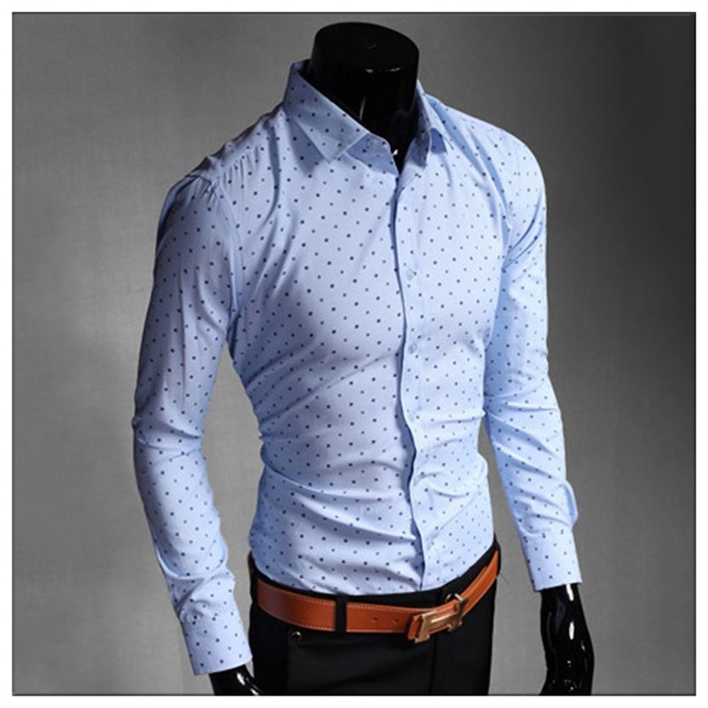 Clearance Sale 2015 New Arrival Mens Dot Ship Pattern Cotton Dress ...