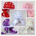 Cheap Bridesmaid Wedding De Fleurs Nuptial Foamflowers Rose Bridal bouquet White Satin Romantic Wedding bouquet Flowers Bride