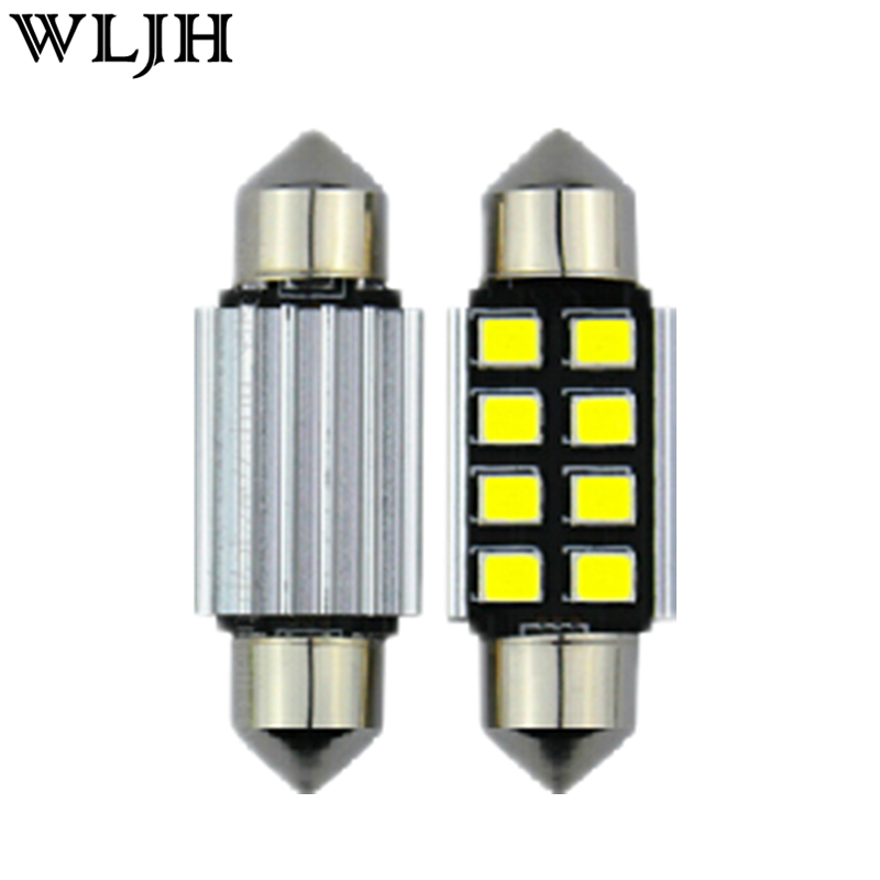WLJH 2PCS CANBUS 2835SMD <font><b>LED</b></font> 39mm FESTOON 239 C5W 272 NO EEROR LIGHT FOR MERCEDES BENZ C Class <font><b>W202</b></font> W203 W204 NUMBER PLATE BULB image