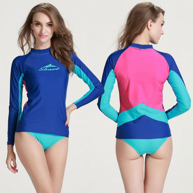 0bf1983b6 Women's Long Sleeve Top Rashguard UV Sun Protection Skins Rash Guard Crew  Top Swim Shirt for