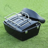 Black King Tour Pak Pack Trunk W/ Luggage Rack For Harley Road King Glide Touring Electra Glide 1997 2013 Motorcycle