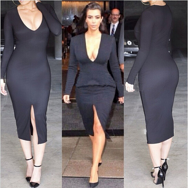 kim kardashian dress black autumn dress women 2017 sexy deep v long ...