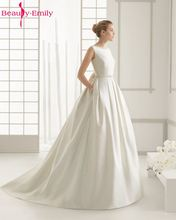 Weddings Events - Wedding Dresses - Beauty-Emily Ivory Stain Wedding Dresses 2017 Beads Bow Floor-Lenth Court Train O-Neck Backless Bridal Gown Party Prom Dresses