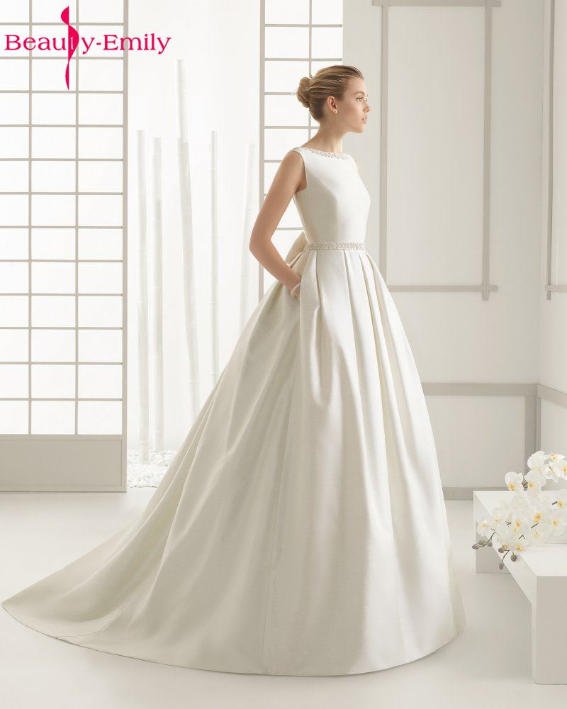 Beauty-Emily Ivory Stain Wedding Dresses 2018 Beads Bow Floor-Lenth Court Train O-Neck Backless Bridal Gown Party  Dresses