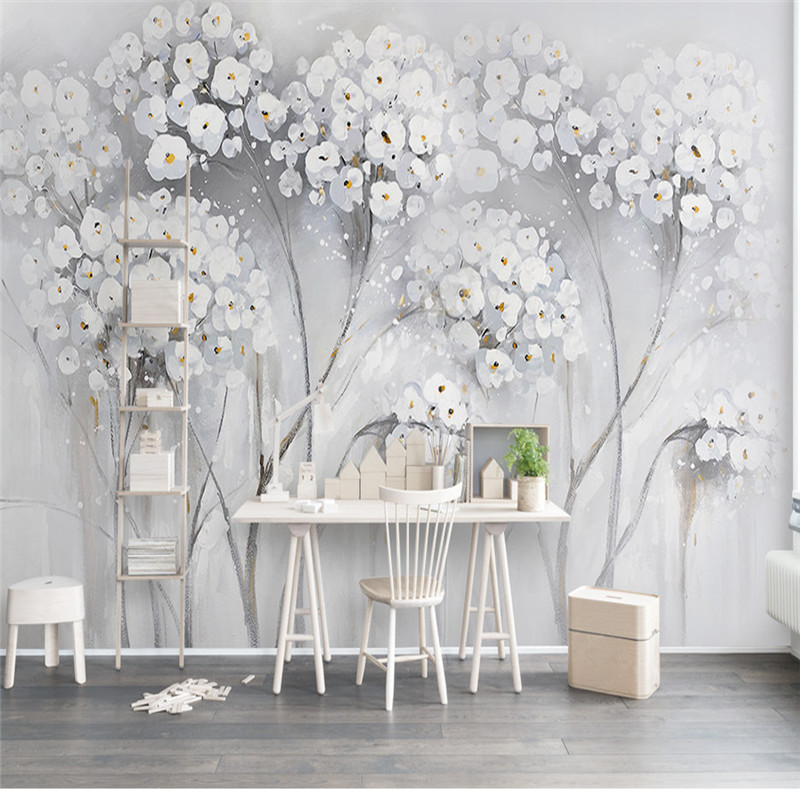 Modern Light Grey Tree Mural Wallpapers For Walls 3D Retro Flowers Custom Photo Wallpapers Home Decor Living Room Bedroom Murals сумка для фотоаппарата hugger tree trunk dark grey