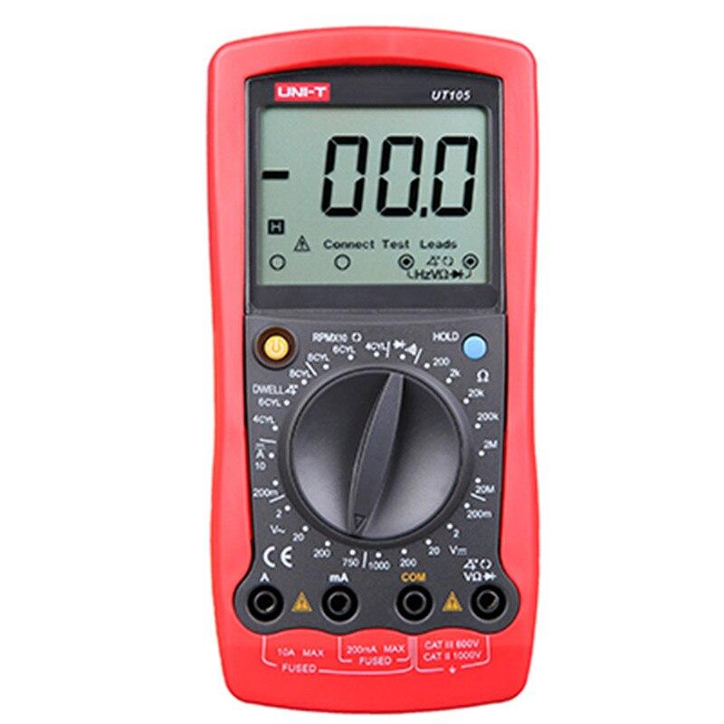 UT105 Automotive LCD Digital Multimeter Handheld AC DC voltmeter DC Ammeter tester voltage current resistance testing meter unit ut 61e ut61e digital handheld multimeter tester dmm ac dc volt ohm frq