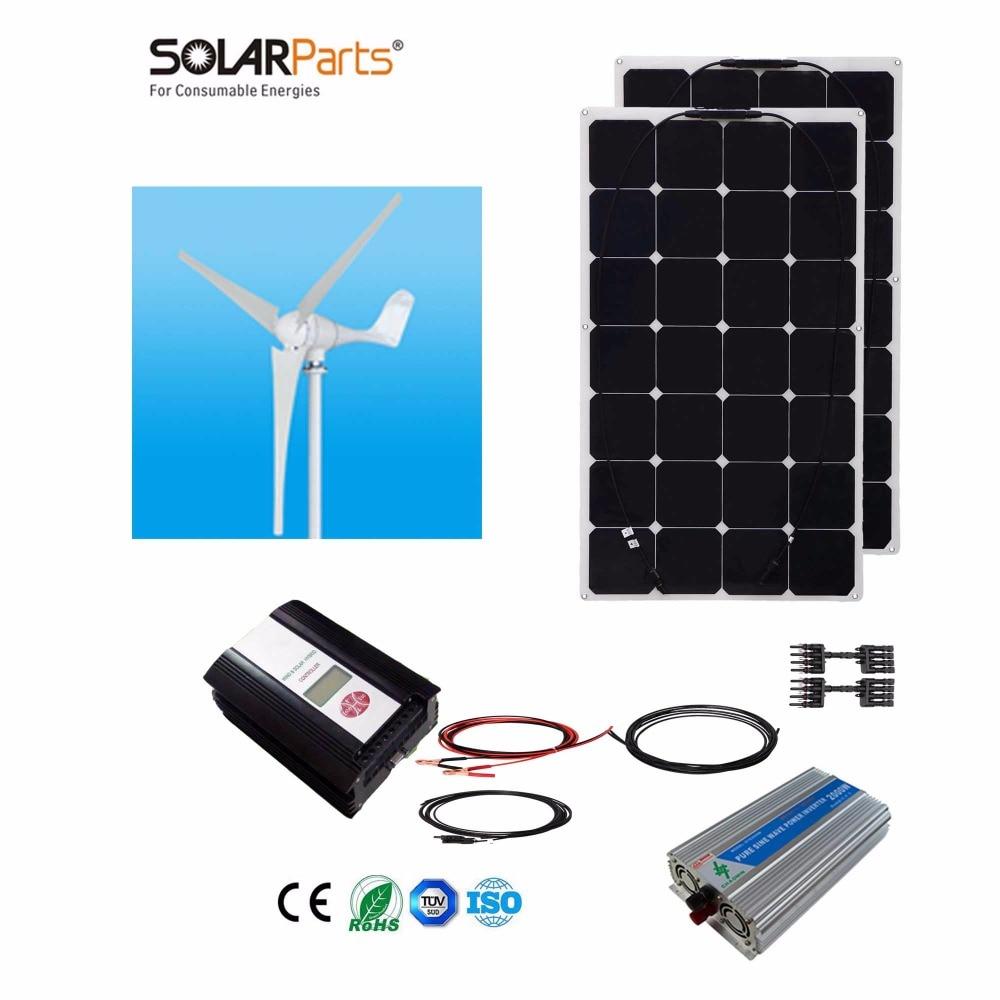 Boguang 1x 600W wind turbine+2x100W Solar Wind Hybrid solar system DIY kit solar panel home house module mobile dc 12v/24v off g