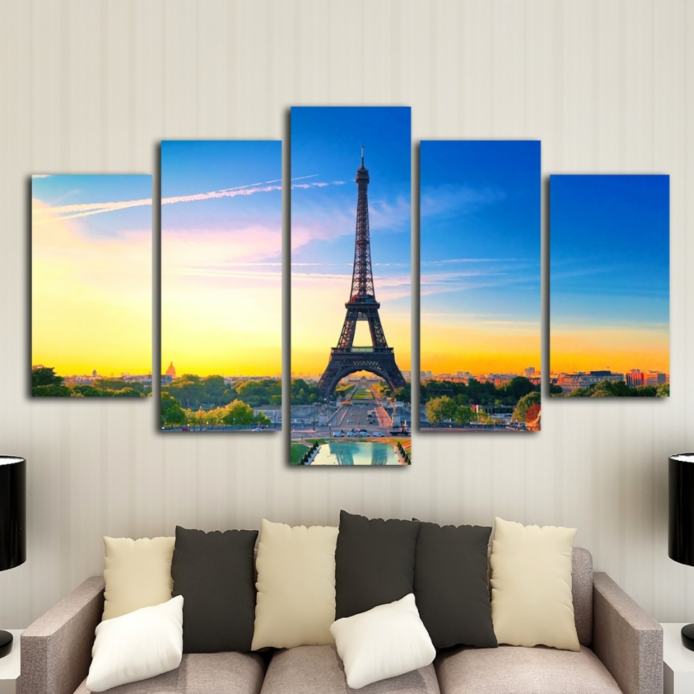 HD print 5 pieces Paris tower canvas art painting modern home decoration mural art printing living room decorative painting