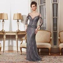 2015 wunderschöne Grauer Lange Spitze Mutter der Braut Kleider mit 3/4 Ärmeln und Gefrieste Arabeske Abendkleider Benutzerdefinierte