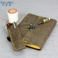 Vintage Leather Notepad Leather Belt Lock Notebook Handmade Creative Travel Diary Kraft Paper Notepad for Gifts N101