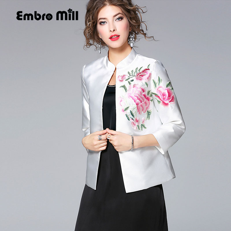 High quality women tops autumn royal embroidered vintage floral short coat mandarin collar elegant lady casual jacket female XXL