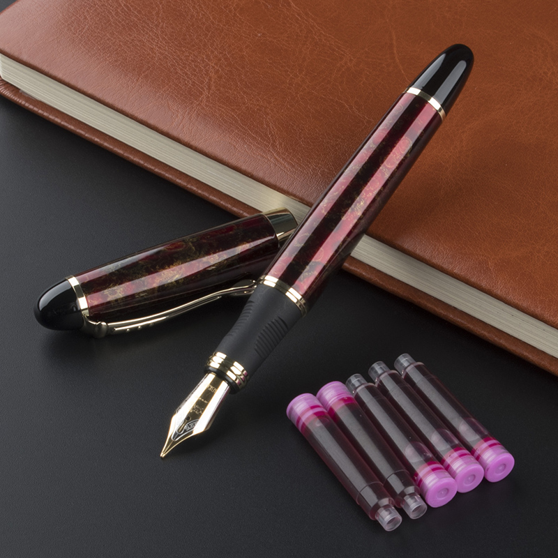 купить JINHAO X450 classic wine Red M Nib Fountain pen Office school stationery Writing ink pens Fit birthday gift And 5 pcs inks по цене 64.6 рублей