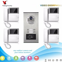 Yobang Security  4.3 inch Apartments of 4 Units Kit Video Door Phone Video Intercom Entrance Doorbell phone Night Vision camera