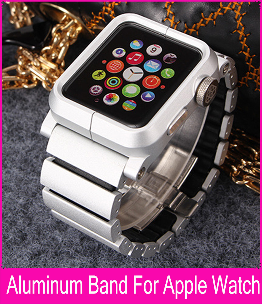 Luxury Black Silver Aluminum Link Bracelet Band For Apple Watch 42mm 38mm Metal Watchbands With Aluminum Alloy protector Case black silver u shape aluminium alloy stand docking charger station holder for apple watch iwatch