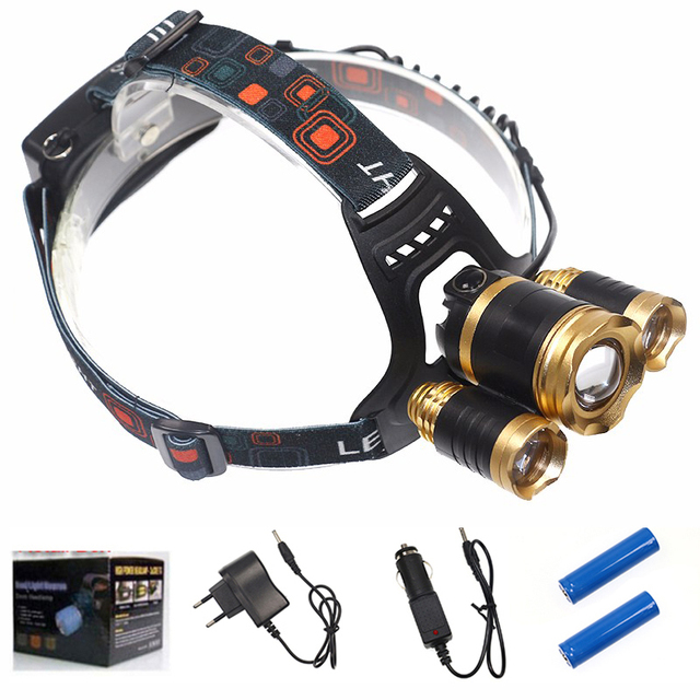 3 Led Headlight T6 LED Headlamp 4 Modes zoomable Head light 2pcs 18650 Batteries/AC/ Car Charger