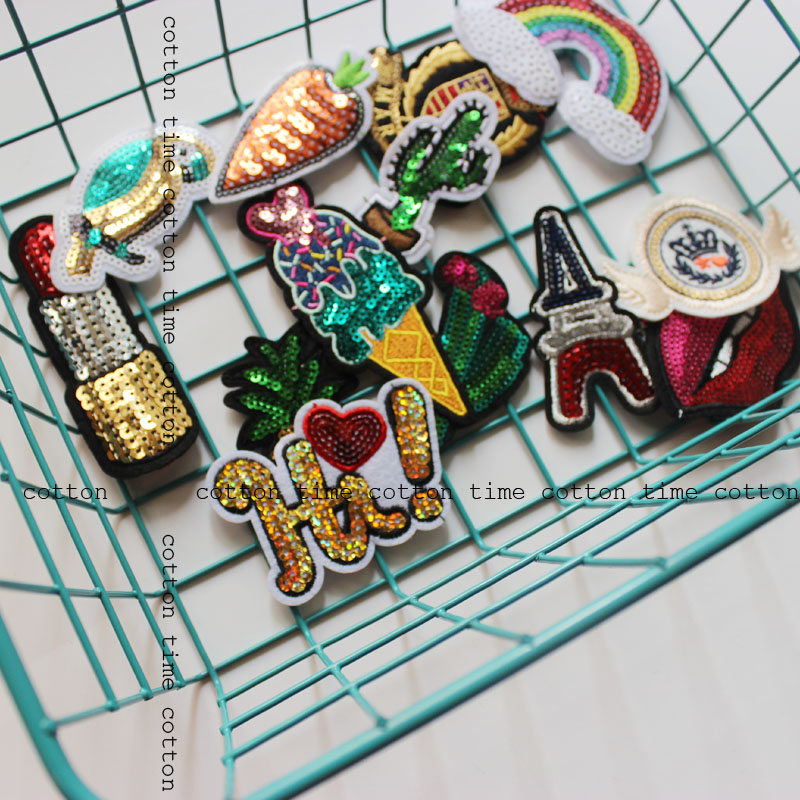 1pc/1set Embroidered Badges Sequined Badges for clothing Qute cartoon Iron on Sewing on Badges for bags free shipping