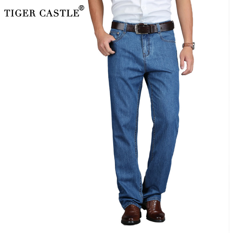 TIGER CASTLE 100% Cotton Summer Men Classic Blue Jeans Straight Long Denim Pants Middle-aged Male Quality Lightweight Jeans