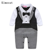 Kimocat Baby Boy Rompers Autumn Kids Gentleman Clothes Long Sleeve One Pieces Baby Jumpsuits Brand Clothing for Baby Boys
