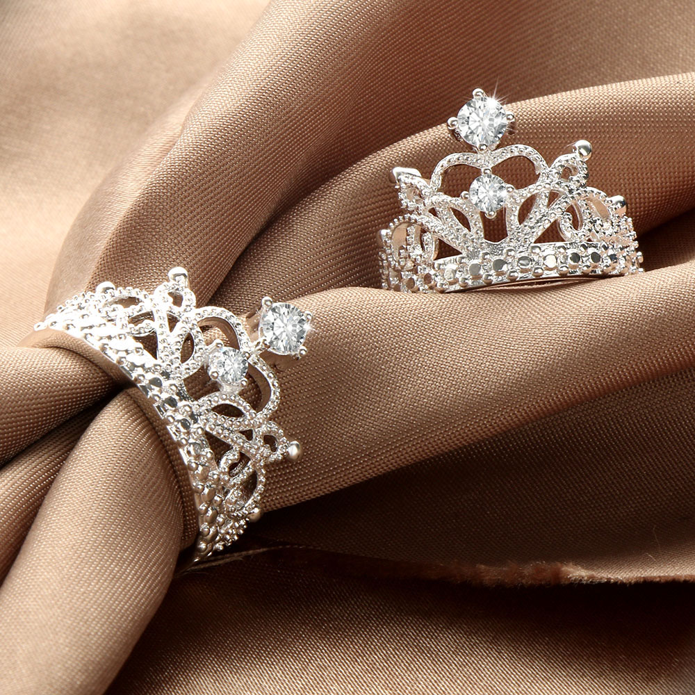 HOT Sale Princess Crown Rings For Women AAA Cubic Zirconia Micro Pave Setting Engagement Wedding Rings Female Anel Accessories