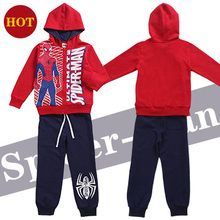 2016 New Fashion Spring Fall Children Spider Man Clothing Set Boys Casual Long Sleeve Hoodies+Pants Sport Suits Kids Sweater Set