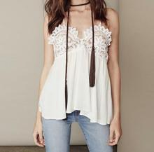 VogaIn 2016 New Fashion Women Luxury HOT Lace Embroidery Stitching Camis Sexy Cross Back Sleeveless Tops
