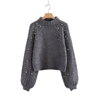 Pearl Beaded Rib Knit Jumper Autumn Winter Womens Pullover Sweaters Grey Stand Collar Long Sleeve Tight