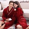 2017 Outono Inverno grosso flanela Roupões de Banho das mulheres dos homens pijama pijama homewear sleepwear masculino salões de cavalheiros