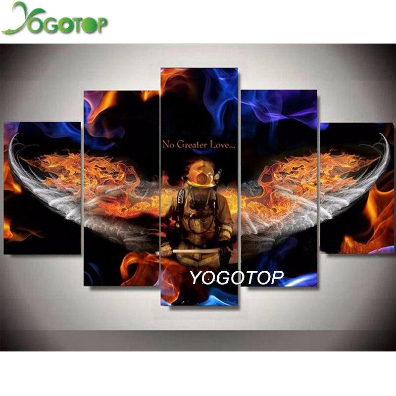 YOGOTOP 5 pièces bricolage diamant peinture pompier héros, complet, image de broderie de diamant, 5D perceuse mosaïque, couture, artisanat ML782