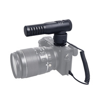 CoMica CVM SV20 Metal Shotgun Video Microphone Stereo Audio Recording Pro Double Mic for Camera with Cold Shoe Mount LED Display