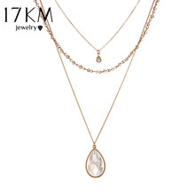 17KM Vintage Gold Color Multilayer Chain Crystal Water Drop Pendant Necklace Bead Bar Colares Jewelry Collier bijoux femme