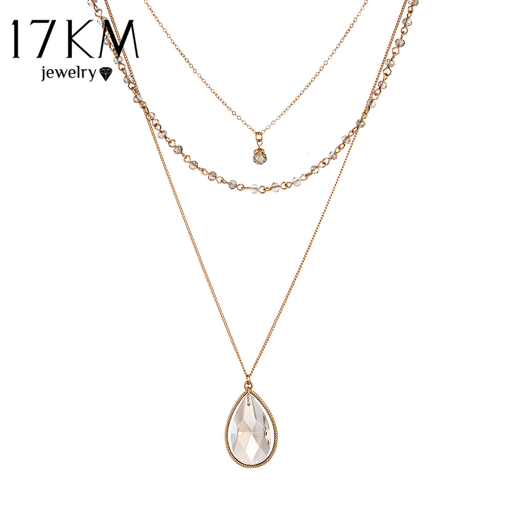 17KM Vintage Gold Color Multilayer Chain Crystal Water Drop s
