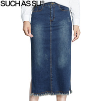 ZOALS SU Herfst Winter Jean Rok Vrouwen 2017 Nieuwe Koreaanse blauw Hoge Taille Mid Lange Potlood Rokken S-3XL Size Vrouwelijke Denim rok