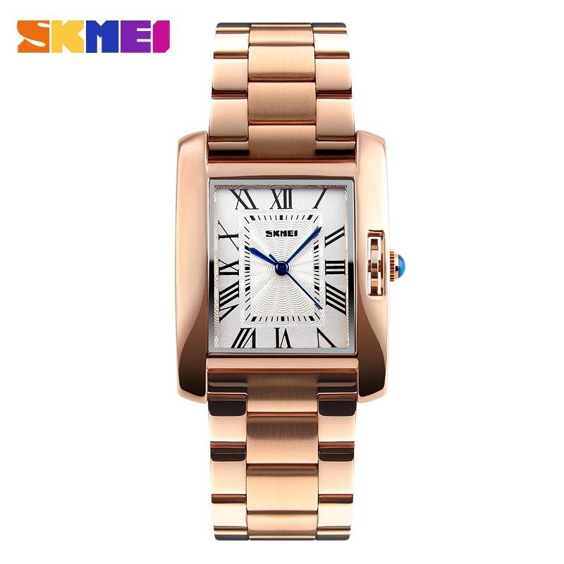 SKMEI Luxury Women Watch Full Steel Crystal Ladies Watches Luxury Rose Gold Waterproof Watch Elegant Relogio Feminino 1284