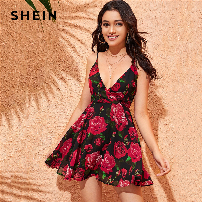 SHEIN Floral Print Plunging Neck Wrap Skater Cami Dress Wrap Deep V Neck Spaghetti Strap Sexy Sleeveless Summer Women Dress