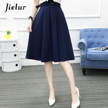 Jielur 2019 New Korean Office Lady Sashes Fashion Saias Female Summer All match Chic A line Skirts Pink Army Green Bottoms Women