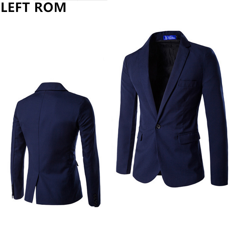 LEFT ROM Male Classic one button Leisure suit Best man font b Jackets b font high