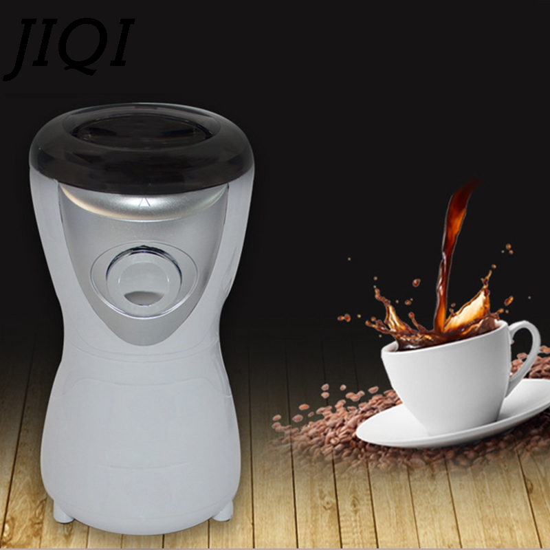 JIQI Electric Coffee Grinder Herbs Grain Crusher Burr Mill Mini Nuts Seeds Coffee Bean Grinding Machine Stainless Steel Blade EU