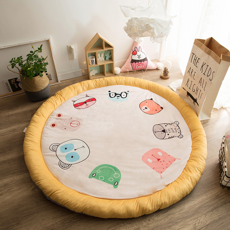 Children Play Mat Thick Soft Cotton Development Mat For Baby Cute Cartoon Roundness Kids Rug Baby Activity Gym Carpet For Infant пледы и покрывала vladi плед снежинка 140х200 см