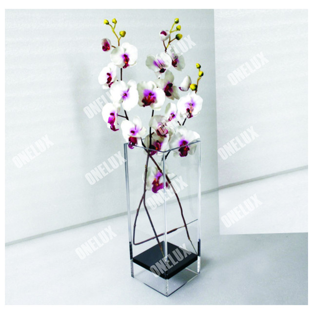 Perfect Clear Large Acrylic Square Vase Floral Arranging Holder In