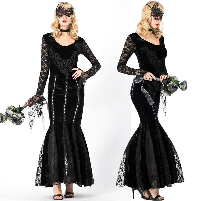 Black Velet Halloween Lace Sexy Vampire Costume Women ...