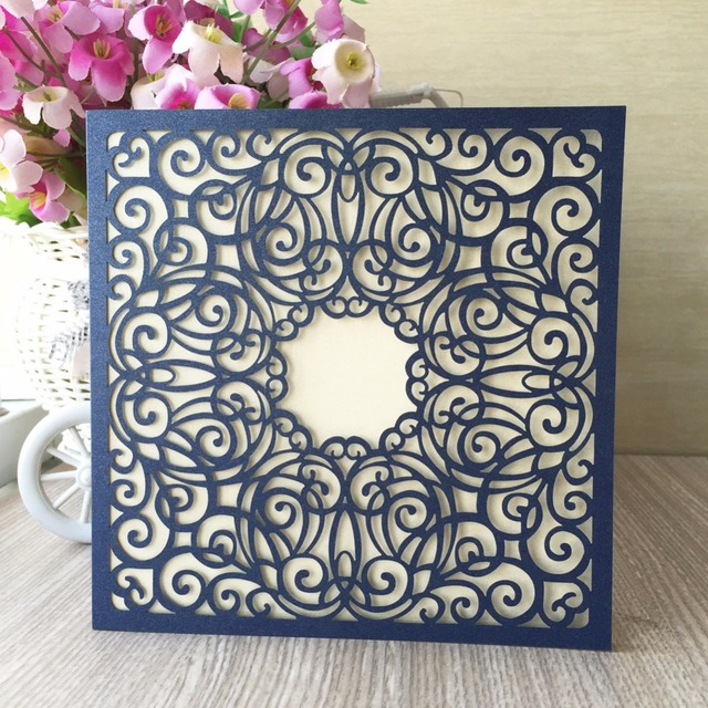 12pcslot free shipping four folds happy new year christmas laser cut wedding invitations card