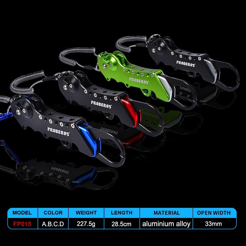 PRO BEROS Aluminum Alloy Fishing Grip Portable Fish Lip Gripper Trigger Lock Fishing Tackle Grabber Tools Accessories